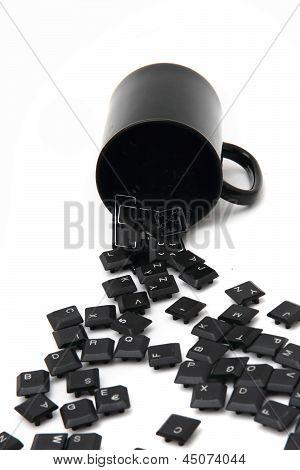Chaos Black Keyboard Keys In The Pot