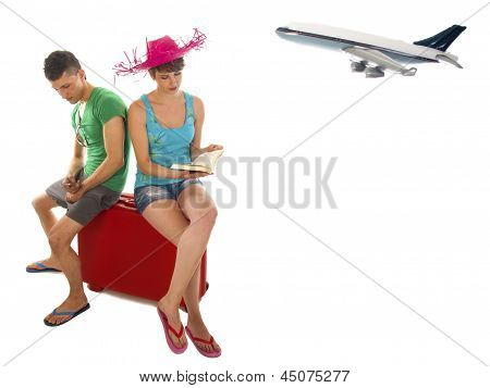 Young Couple Goes On Vacation With Plane