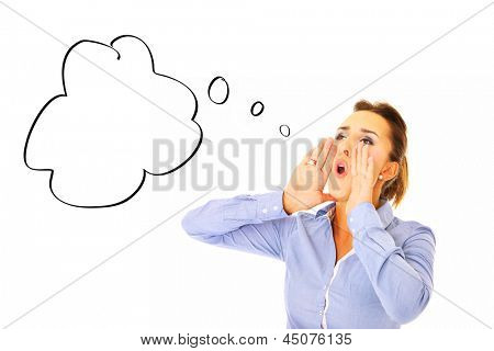 A picture of a young woman screaming over white background