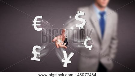 Attractive young man throwing currency icons
