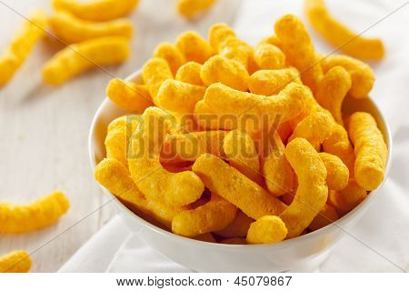 Unhealthy Orange Puffy Cheese Crisps