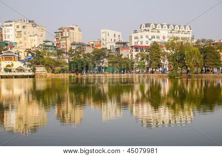 HANOI, VIETNAM - JANUARY 13: Hoan Kiem Lake is centrally located and minutes walking from Hanoi's Old Quarter, where most hotels gather, on January 13, 2013 in Hanoi.