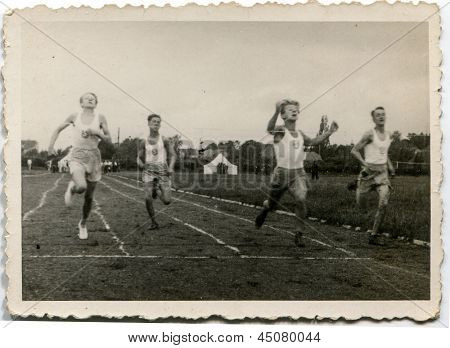 RAWICZ, POLAND, CIRCA 1939 - Vintage photo of unidentified boys running during a sport event, Rawicz, Poland, circa 1939