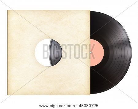 vinyl music disc in paper sleeve isolated