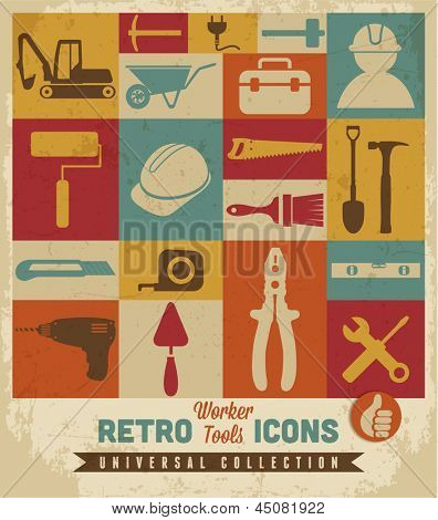 Worker tools icons set.Vector