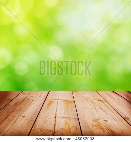 summer background with wooden plank