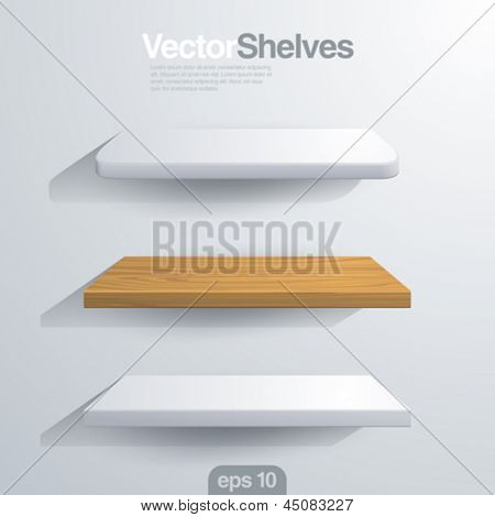 3D Vector shelves. Rectangle and rounded corner shape.