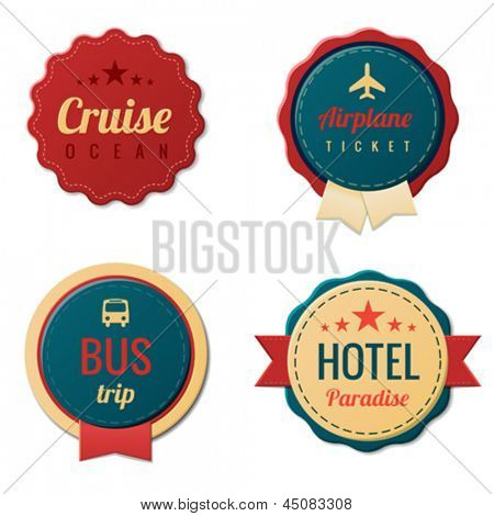 Travel Vintage Labels logo template collection.  Tourism Stickers.