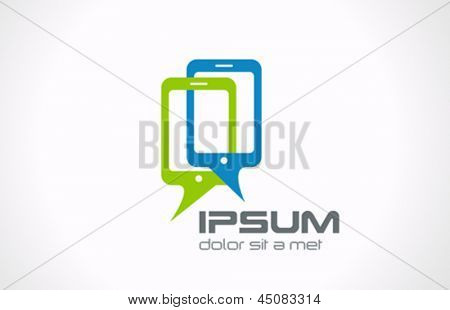 Talking mobile phones logo template. Smartphone Connection icon.  Mobile chat concept. Vector. Editable.