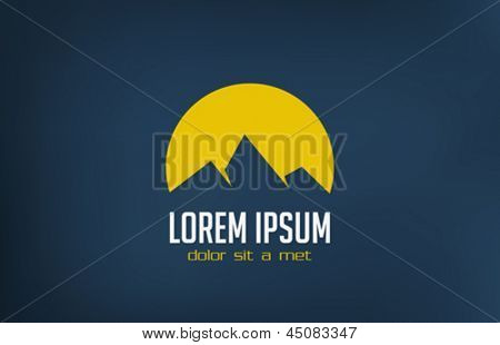 Tourism travel logo template abstract.  Sun rising behind mountains.