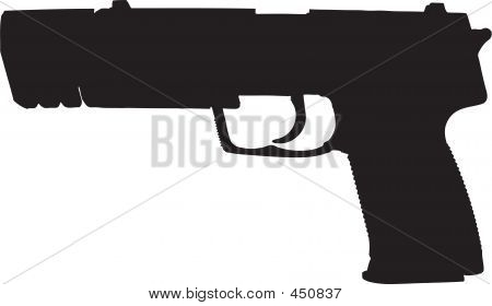 Semi-automatic Gun Illustration With Clipping Path