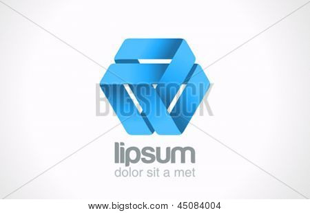 Abstract triangle loop logo template. Ribbon cycle infinite. Infinity sign.