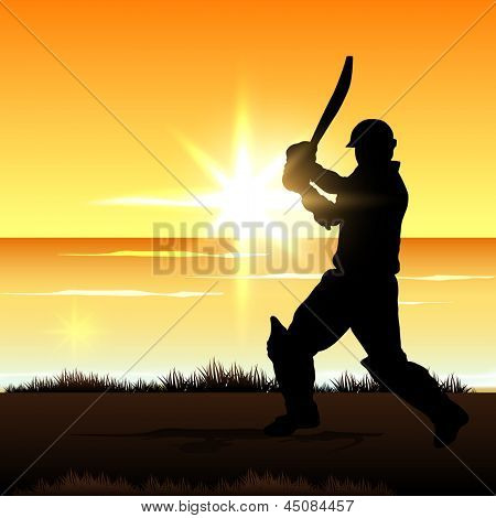 Cricket batsman in playing action on colorful waves background.