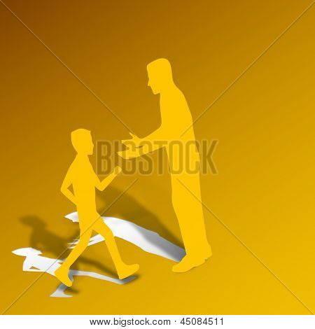 Happy Fathers Day concept with father and his son on yellow abstract background with paper cut out design.