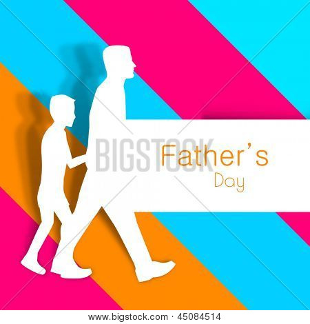 Happy Fathers Day background with paper cut out of a father holding hand of his son on colorful abstract background.