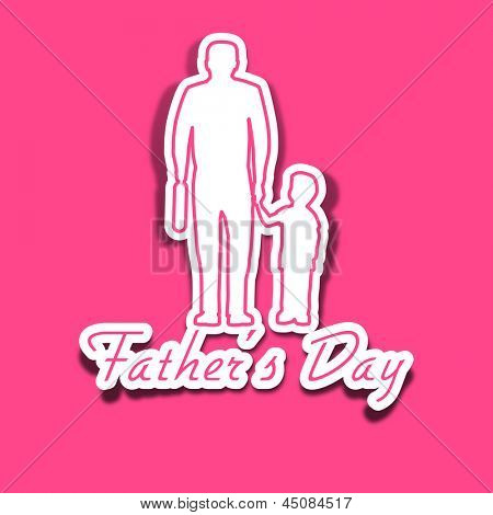 Happy Fathers Day concept with a father holding hand of his son on pink background.