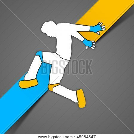 Musical dance party concept. flyer or banner with dancing boy on yellow and blue abstract background.