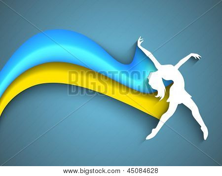 Musical dance party background. flyer or banner with paper cut out design of a dancing girl on blue wave background.