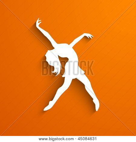 Musical dance party background. flyer or banner with paper cut out design of a dancing girl on orange background.