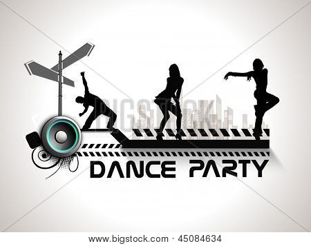 Musical dance party background. flyer or banner with silhouette of dancing girls on grey background.