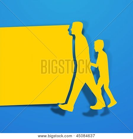 Happy Fathers Day background with yellow paper cut out of a father holding his son hand on blue background.