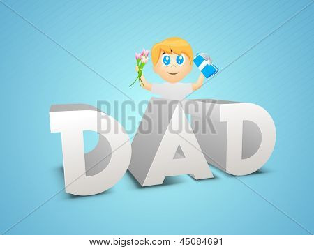 Happy Fathers Day concept with 3D text Dad and a little boy.