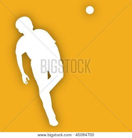 Cricket bowler in playing action on yellow background.