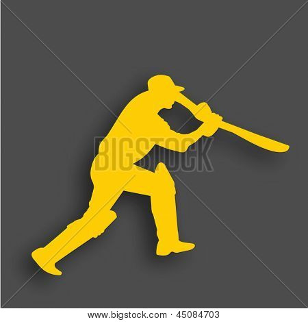 Yellow silhouette of a batsman in playing action on grey background.
