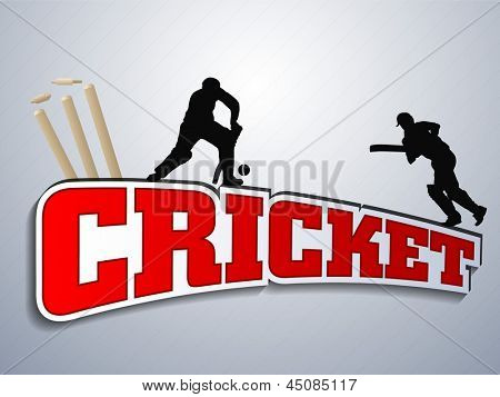Silhouette of two batsman in playing action with text cricket.