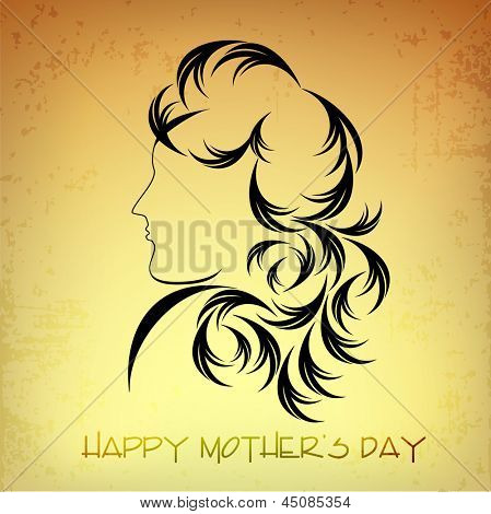 Happy Mothers Day concept with sketch of a lady.