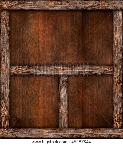 Empty Wooden Bookshelf