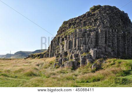 Dverghamrar Basalt Columns On Iceland