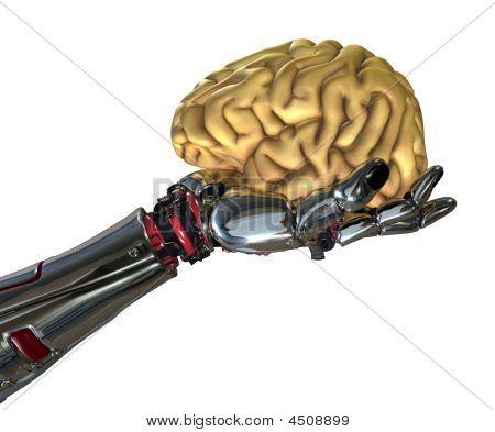 Robot Hand Holding Human Brain