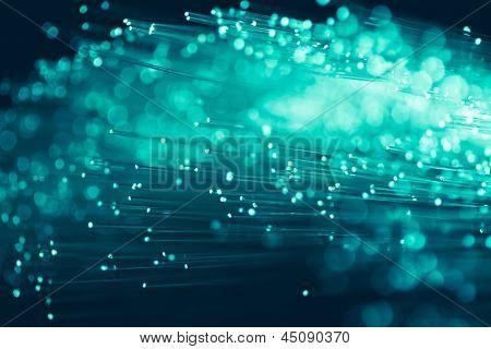 hilos de fibra óptica en color esmeralda