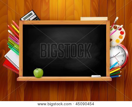 Blackboard with school supplies on wooden background. Vector illustration.