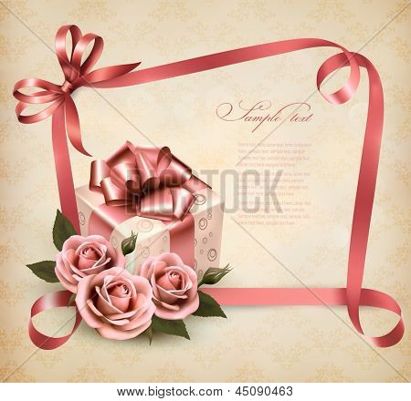 Vintage holiday background with pink roses, gift and a ribbon. Vector.