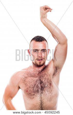 Shirtless Hairy Man Posing
