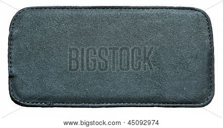 Business texture of leather black and suede blank label close up view isolated over white background, perspective and successful concept of promotion products, elements and items