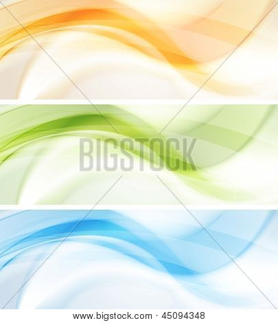 Resumen banners ondulados suaves. Vector fondo eps 10