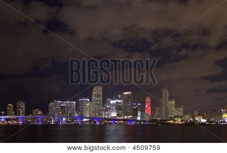 Miami Downtown View At Night