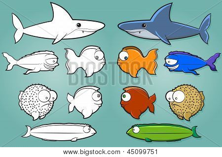 Fish Cartoon Set
