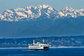 stock photo of passenger ship  - Seattle Bainbridge Island Car Ferry Puget Sound Olympic Snow Mountains Washington State Pacific Northwest - JPG
