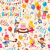 stock photo of confetti  - cute kids birthday party fun pattern illustration - JPG