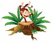 picture of ape  - Illustration of a tree with a playful monkey on  a white background - JPG