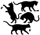 stock photo of torture  - Four editable vector silhouettes of a cat playing with a mouse - JPG