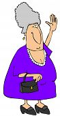 picture of old lady  - This illustration depicts an old woman in a purple dress waving - JPG