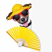 picture of placeholder  - summer cocktail dog cooling of with hand fan behind banner - JPG