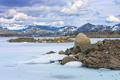 picture of loon  - Frozen Loon Lake in high Sierras California - JPG