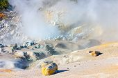 Smoking Fumaroles Of Bumpass Hell, Lassen Volcanic Park, California.