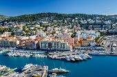 picture of yachts  - Aerial View on Port of Nice and Luxury Yachts French Riviera France - JPG